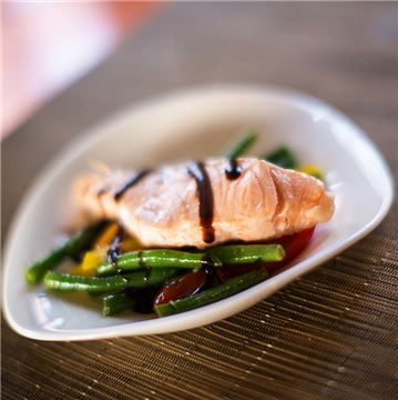 Fresh Wild Salmon Served Over Nicoise Salad